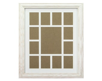 Craig Frames, 12x16-Inch Whitewash School Years Frame, Single White Collage Mat with 13 Openings (529121601C32A)