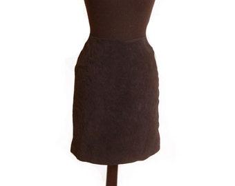 Vintage 1980s Suede Black Skirt size 9