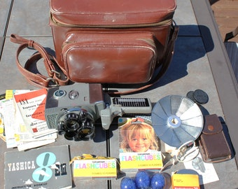Yashica 8 EIII 8m Movie Film Camera Combo w/ Accessories and Bag