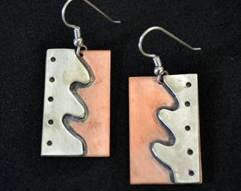 "Copper and sterling earrings.  handmade.  ""waves"""