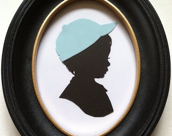 FRAMED Custom Silhouette Portrait: 5x7, Black Silhouette, White Background, with Color Embellishment