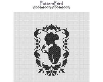 Woman Silhouette in Baroque Frame. Instant Download PDF Cross Stitch Pattern