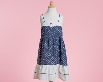 Vintage Navy Blue Tiny Heart Print Sun Dress (Girls Size 8)