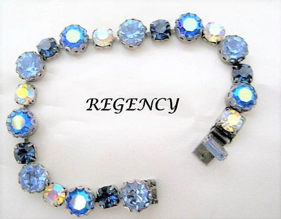 Blue Rhinestone Bracelet, Regency Signed Designer, Tennis Links, Sparkling Sapphire Links