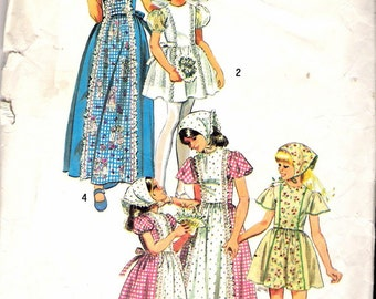Vintage 1974 Simplicity 6242 Girl's Dress in Two Lengths & Head Scarf Sewing Pattern Size 7 UNCUT