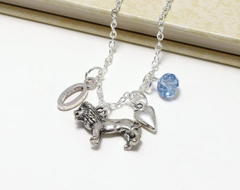 Personalized Lion Necklace with Your Initial and Birthstone
