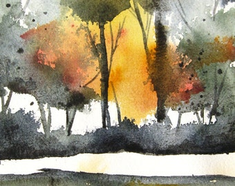 Bosque Sunset - Original Watercolor Painting