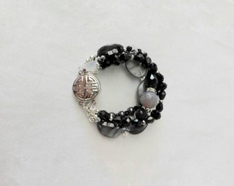 Crystal bracelet, boho bracelet, black bracelet, black pearls, hematite bracelet, starlets, mother of pearl bracelet, elegant bracelet