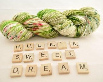 "Hand-dyed yarn, ""Hulk's Sweet Dream"" variegated, speckled, soft and squishy yarn. Great for socks or shawls. 80/20/ Superwash wool/Nylon"