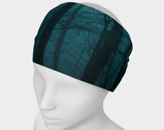 Tree Headband - Hair Accessory - Scarf - Face Warmer - Versatile Accessory - Bandanna - Blue Teal Black Forest