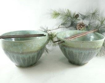 Large Pho Noodle Bowls Ceramic Rice Bowl Chopstick Bowl Green Ramen Bowl, pottery and ceramics Thai Soup Bowl Vietnamese Hot Pot Bowl