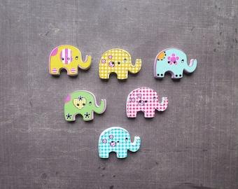 15 buttons wood form animals big Elephant