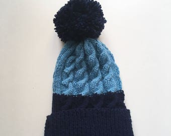 4/6 years old, twisted and Navy Blue tassel hat and blue