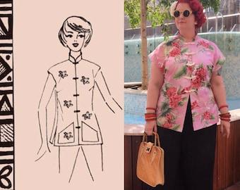 1950s Hawaiian Tea Timer blouse, multisized, digital download pattern - Vintage Sewing Pattern PDF 1011