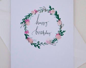 Floral Wreathe Birthday Card