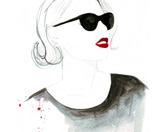 Digital Download - Watercolour fashion illustration Titled Red lip