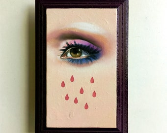 Wicked Game - Lover's Eye Oil Painting on wood plaque Lowbrow Pop Art sad eyes