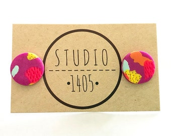 Oversized Round Clay Stud Earrings