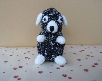 Rocky dog amigurumi knitted in wool (10cm)