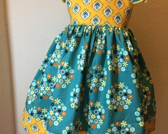 Little Girls Teal Gold Floral Flutter Dress Size 5 RTS