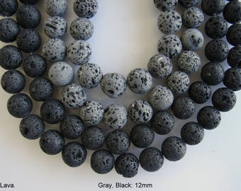 Natural Lava Beads Strands Round, Gray, Black  12mm,  by beads or strand (BD-A200)