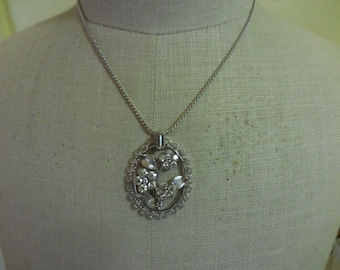 Vintage 1940s to 1950s Silver Tone Krementz Flower and Rhinestone Necklace Wedding Bridal Filigree