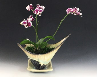 Orchid Pot with Drainage Holes and Catch Plate in White Crystalline Glaze, Hand Built Porcelain Vessel, 7 in tall