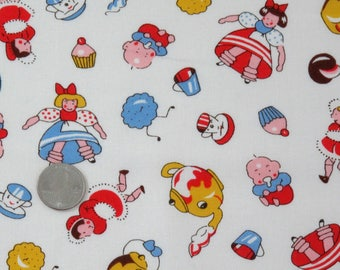 Tea and Biscuits Fabric, American Folk & Fabric Vintage Collection PR 206, Tea Party Fabric, Sewing Yardage, Quilting, Dancing Teapots, 1 yd