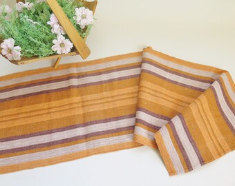Vintage Swedish Linen Table Runner, Yellow Orange Brown Striped Table Runner, Scandinavian Home Textiles #3-01