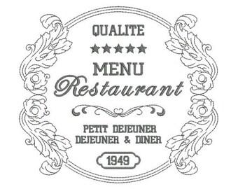 Instant download Frame redwork vintage frame restaurant embroidery design machine.