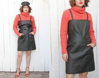 Vintage 90s Dress | 90s Black Leather Minidress with Pockets Adjustable Straps | Medium M Large L