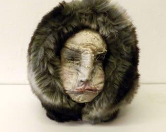 Human Head Sculpture - Unusual Gift Art - Creepy Doll - Wild Man - Uncanny Art - Ugly Puppet Face - BeautyOfDecayArt - Teresa Wilson