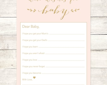 wishes for baby girl shower printable DIY pink gold glitter baby girl well wishes for baby shower games - INSTANT DOWNLOAD