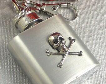 Black Friday Sale Mini Flask, Keychain, Flask, Steampunk, Steampunk Flask, Keychain Flask, Miniture Flask