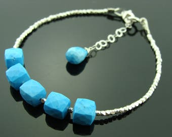 Turquoise 925 Sterling Silver Hill Tribe Bracelet