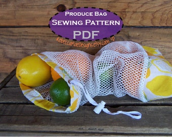 Market Bag SEWING PDF PATTERN - diy tutorial for reusable mesh produce bags