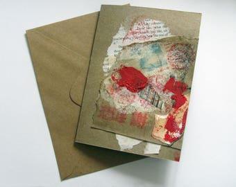 Hand Painted Abstract Kraft Card, Tactile, Mixed Media, Artisan