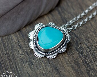 Sterling silver and Turquoise hand stamped boho style necklace  - Fiji -