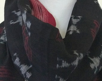 Handwoven black with red  border  cotton ikat Stole/Scarf/wrap , scarves for women,unique gift