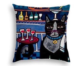 50% SALE- Cat Pillow Cat Lovers Gift Folk Art throw Pillow by Heather Galler - 5 Sizes to choose from