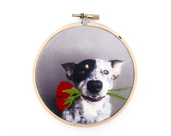 Custom portrait wall decor. Pet portrait. Baby/child photography. Memorial gift. Hand embroidered. Contemporary embroidery. Textile art.