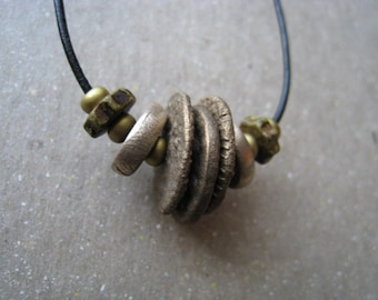 Textured Bronze Disks and Beads Necklace on Black Leather Cord - Disk Necklace - Bronze Necklace
