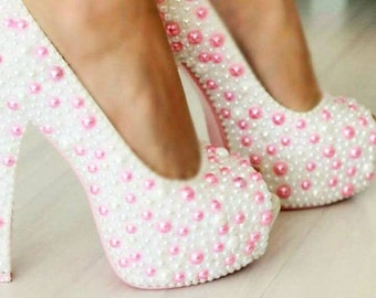 Pearled Wedding High Heels Decorated Womens Concealed Platform High Stiletto Heel