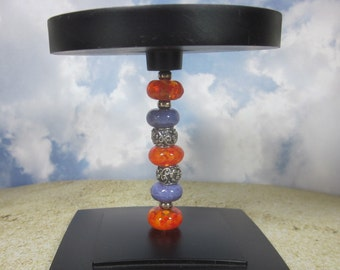 Beaded Candle Holder - Short, Artisan Lampwork Glass, Hand Crafted, Metal, Unique, Beadable, Decorative, OOAK, SRAJD