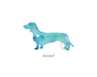 Dachshund Dog Watercolor Painting Digital Art Print Silhouette Custom Wall Decor, Home, Office, Nursery, Room Decor