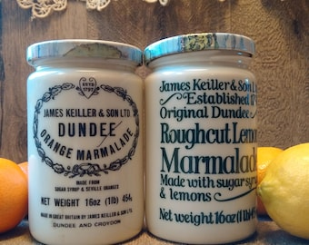 PERFECT! JAMES KEILLER & Sons Dundee Scotland - Marmalade Jars // Vintage Keiller Stoneware Breakfast Jars // Ideal Gift For Scotland Lover