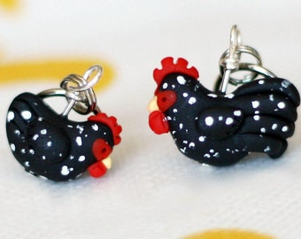 Cuckoo Maran Polymer Clay Chicken Stitch Markers (Brood of 4 sculpted miniature Knit, crochet accessories)