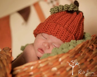 READY TO SHIP - Pumpkin Hat -  (fits baby, toddler, child)