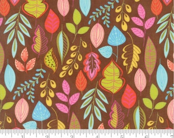 Wing and Leaf - Leafy Chestnut Brown by Gina Martin from Moda