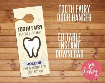 Tooth Fairy Door Hanger, Tooth Fairy Printable, Custom Tooth Fairy, Tooth Door Hanger,Customized, Custom, Printable, Editable, Instant